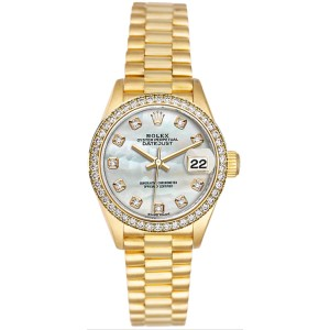 Rolex Women's President Yellow Gold Custom Diamond Bezel & Mother of Pearl Diamond Dial 26 mm Women's Watch