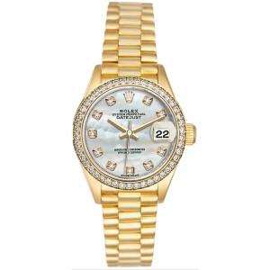 Rolex Women's President Yellow Gold Custom Diamond Bezel & Mother of Pearl Diamond Dial 26 mm Women's Watch