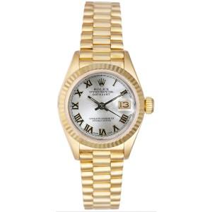 Rolex Women's President Yellow Gold Fluted Silver Roman Dial 26 mm Women's Watch