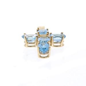 5.80 Carat Total Swiss Blue Topaz and Citrine Cross Pendant in 14 Karat Gold