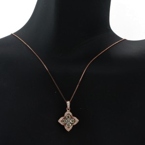 Espresso Rose Gold Flower Necklace