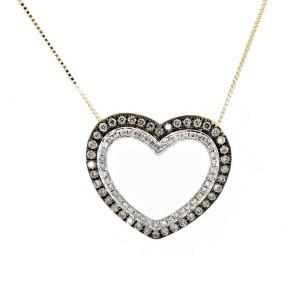 Espresso Double Heart Necklace Pendant