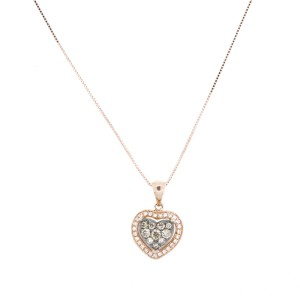 Espresso Rose Gold Heart Necklace