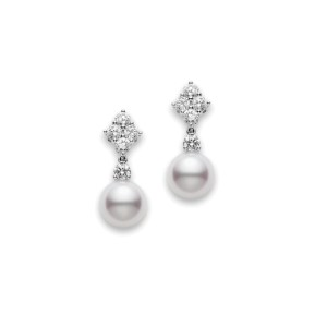 Mikimoto 18K White Gold with Diamond & Akoya Cultured Pearl Drop Earrings