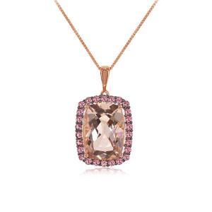 14k Rose Gold Morganite Pendant Necklace