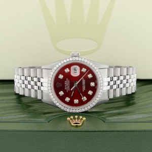Rolex Datejust 36MM Automatic Stainless Steel Watch w/Imperial Red Dial & Diamond Bezel