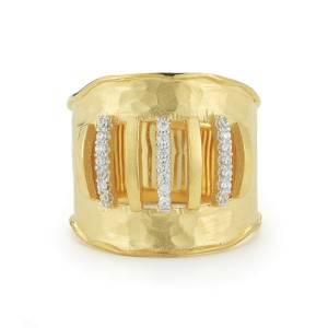 I.Reiss Matte And Hammer-Finished Scallop-edged Cut-out Cuff Ring