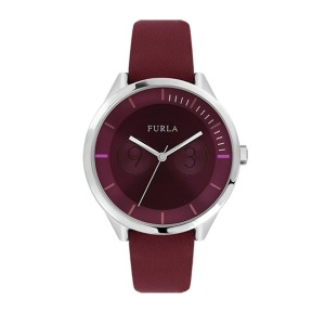 Furla Women's Metropolis Burgundy  Dial Calfskin Leather Watch