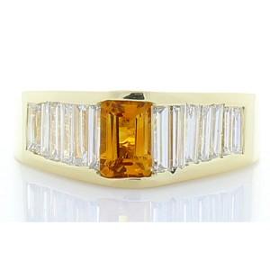 0.75 Carat Emerald Cut Citrine Garnet and Baguette Diamond Cocktail Ring
