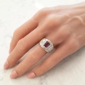 1.50 Carat Emerald Cut Rhodolite Garnet and Princess Cut Diamond Cocktail Ring