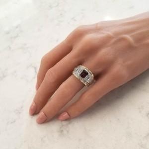 1.50 Carat Emerald Cut Rhodolite Garnet and Diamond Dual Tone Cocktail Ring