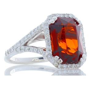 8.05 Carat Emerald Cut Spessartite Garnet and Diamond White Gold Cocktail Ring