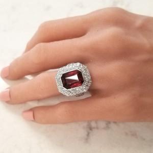 9.03 Carat Emerald Cut Garnet and Diamonds White Gold Cocktail Ring