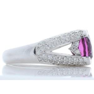 6.43 Carat Cushion Rhodolite Garnet and Diamond White Gold Cocktail Ring