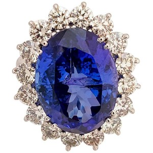 13.14 Carat Oval Tanzanite and Diamond Cocktail Ring in Platinum
