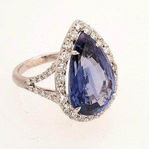 GIA Certified 11.24 Carat Pear Shape Blue Sapphire and Diamond Ring in 18K Gold