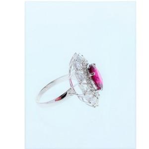 3.17 Carat Oval Rubelite and Diamond Cocktail Ring in 18 Karat White Gold