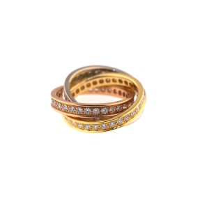 "Cartier 18K White, Yellow, Rose Gold Diamond ""Trinity"" Diamond Ring"