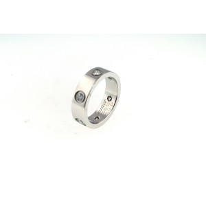 Cartier 18K White Gold & 6 Diamonds Love Ring Sz 6