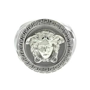 Versace 18k White Gold Large Logo Ring
