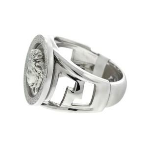 Versace 18k White Gold Logo Ring