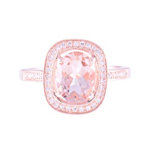 14k Rose Gold Morganite Ring Size 7