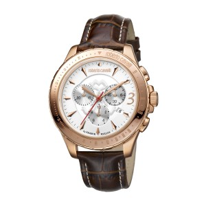 Roberto Cavalli White Brown Calfskin Leather Strap  RV1G014L0026 Watch