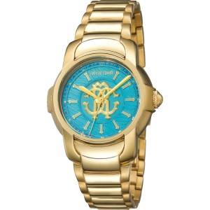 Roberto Cavalli Turquoise Gold Stainless Steel  RV1L007M0036 Watch