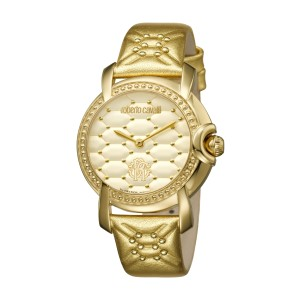 Roberto Cavalli Champagne Gold Calfskin Leather RV1L019L0046 Watch