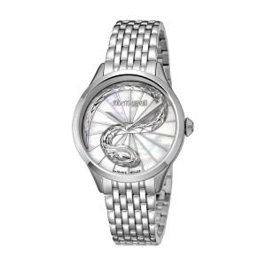 Roberto Cavalli White MOP Silver Stainless Steel  RV1L036M0056 Watch