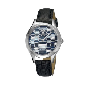 Roberto Cavalli Blue Black Calfskin Leather RV1L041L0016 Watch