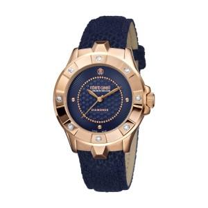 Roberto Cavalli Dark Blue Dark Blue Calfskin Leather RV2L008L0076 Watch