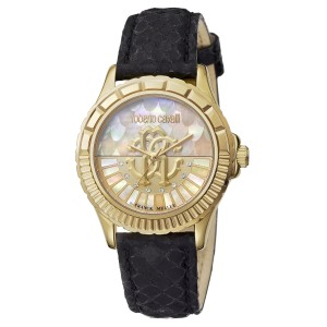 Roberto Cavalli Gold MOP Black  Calfskin Leather RV2L014L0036 Watch