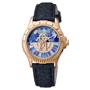 Roberto Cavalli Dark Blue Blue Calfskin Leather RV2L014L0046 Watch