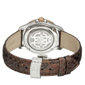 Roberto Cavalli White MOP Brown Calfskin Leather RV2L014L0056 Watch
