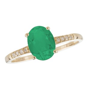 14K Yellow Gold Emerald and Diamond Birthstone Ring Size 7