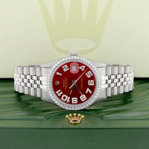 Rolex Datejust 36MM Automatic Stainless Steel Watch w/Imperial Red Arabic Dial & Diamond Bezel