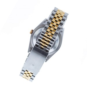 Rolex Datejust 36mm 2-Tone WATCH with 3.10ct Diamond Bezel/Tahitian Blue Diamond Roman Dial