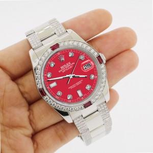 Rolex Datejust 116200 Steel 36mm Watch with 4.5Ct Diamond Bezel/Bracelet/Scarlet Red Diamond Dial