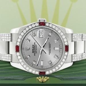Rolex Datejust 116200 Steel 36mm Watch with 4.5Ct Diamond Bezel/Bracelet/Silver Diamond Dial