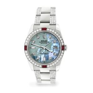 Rolex Datejust 116200 Steel 36mm Watch with 4.5Ct Diamond Bezel/Bracelet/Tahitian Blue Diamond Dial