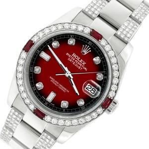 Rolex Datejust 116200 Steel 36mm Watch with 4.5Ct Diamond Bezel/Bracelet/Vignette Red Black Diamond Dial