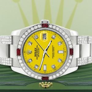 Rolex Datejust 116200 Steel 36mm Watch with 4.5Ct Diamond Bezel/Bracelet/Yellow Diamond Dial