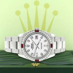 Rolex Datejust 116200 Steel 36mm Watch with 4.5Ct Diamond Bezel/Bracelet/White Jubilee Diamond Dial