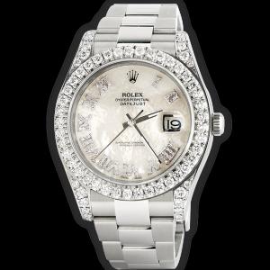Rolex Datejust II Steel 41mm Watch 4.5CT Diamond Bezel/Lugs/White MOP Roman Dial Papers