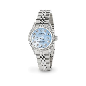 Rolex Datejust 26mm Steel Jubilee Diamond Watch with Blue Flower Dial
