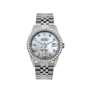 Rolex Datejust Mother of Pearl Dial Diamond 36mm Mens Watch