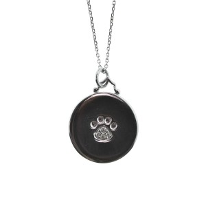 """Monica Rich Kosann Sterling Silver Paw Print Disc With White Saphires on Foot Pad 30"""" Chain"""