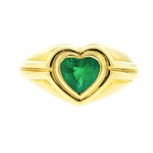 Bvlgari 18k Yellow Gold Heart Shaped Emerald Ring