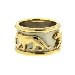 Cartier Two Tone Gold Panthere Band Ring
